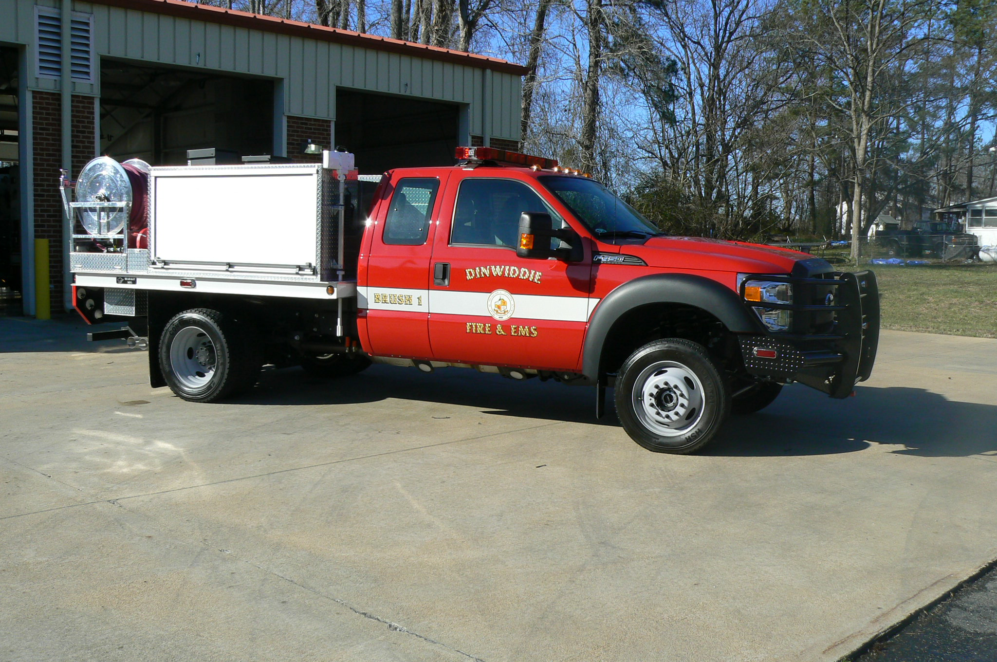 red brush truck