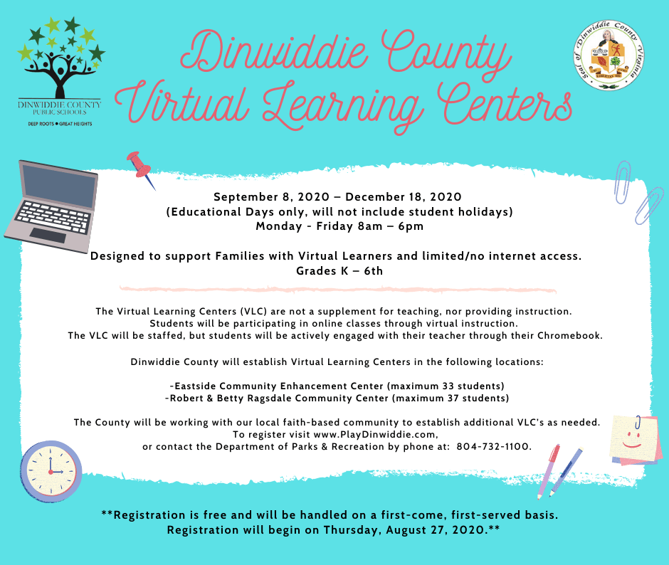 Dinwiddie Virtual Learning Centers graphic 8.26.20
