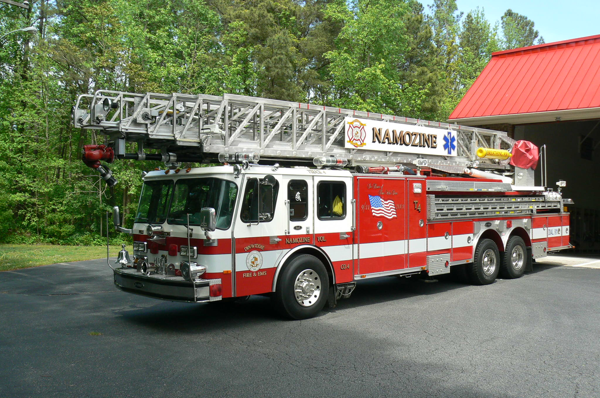 REd fire truck with ladder