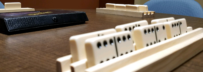 Up close image of dominoes on a table